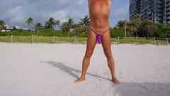 purple knit open top mb (bmicro2000) Tags: man male tiny gstring torpedo teardrop bulge manthong minimalswimwear microkini microbeachwear