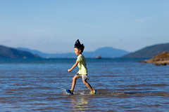 Walking on water (hksleeper) Tags: water wukaisha hongkong maonshan asia boy child splash canon 6d 135l cap hat sun shorts adidas walkingonwater beach happy hot