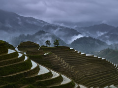 Wondeful world. (Massetti Fabrizio) Tags: china clouds rural landscape landscapes rice guilin yangshuo fields cina yangshou guangxi longsheng cambo rodenstock phaseone iq180