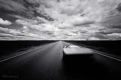 1966 Spratt Interceptor (Avanaut) Tags: road sky blackandwhite cloud classic monochrome car finland landscape outdoor fast motionblur lapland supercar originality