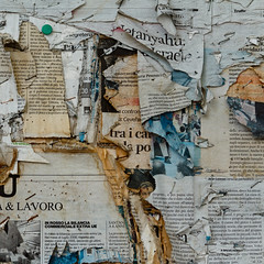 Composition with old  daily newspapers, staples and lies. ( Archeology of information) (sandroraffini) Tags: abstract random urban details reality information lies showcase newspaper surreal exploration lettering staples bologna fragments time layers old paper surfaces