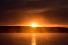 Eye of dawn (jarnasen) Tags: morning sky copyright orange sun mist water birds fog backlight clouds sunrise dawn fuji sweden explore handheld nordic sverige scandinavia telezoom explored xt1 nordiclandscape fujifilmxt1 xc50230mmf4567 jarnasen jrnsen