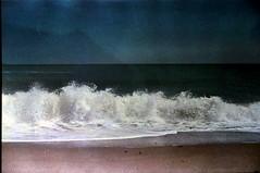 Infinite jest(s) (Kelly Marciano) Tags: ocean sea sky texture film beach analog 35mm diy sand horizon wave fujifilm analogue canona1 selfdeveloped superia200 c41 scituatema