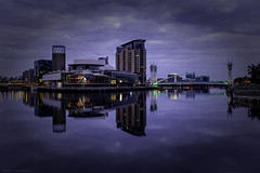The Lowry (explored briefly 15/06/16 #9) (MarkWaidson) Tags: blue reflections lights hour salford quays lowry