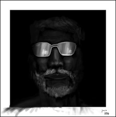 Wise man (lameyre) Tags: old white man black sol sunglasses digital painting de mayor drawing wise gafas dibujo hombre canas sabio