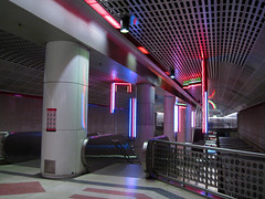 Pershing Square Station (Robb Wilson) Tags: downtownla losangeles metroline redline subway pershingsquarestation neonlights escalators publictransportation