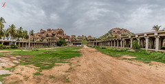 Hampi Bazaar street - from 13th Century (Jamsheed Photography) Tags: hampi heritage architecture stone 13thcentury unesco archeology vijaynagara bazaar street virupaksha sky rocks path remains karnataka india southindia
