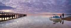 Father & Son (Garry - www.visionandimagination.com) Tags: boat fishing jetty brisbane wellingtonpoint wellopt visitqueenslandthisisqueenslanddawnreflectionaustraliapanoramacanoneos1dx