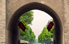 Xian City wall Gate (BryonLippincott) Tags: china road street travel trees red green sightseeing culture streetphotography documentary xian lanterns archway citywall chineselanterns historicalplaces documentaryphotography urbanexporation chinaphotos muslimmarket