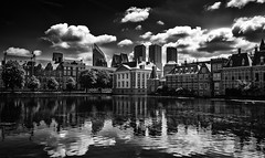 Over the Hofvijver (miguel_lorente) Tags: street city blackandwhite bw holland reflection tourism water netherlands clouds buildings pond cityscape nederland denhaag drama thehague bnw hofvijver