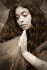 Joy is prayer... (judi may) Tags: portrait beautiful beauty sepia hands dof praying preraphaelite canon7d