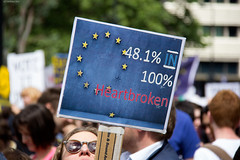 '...100% Heartbroken' (T W Photos) Tags: marchforeurope eu referendum london march protest demonstration strongerineurope britain europeanunion europe heartbroken banner sign