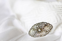 Lace and old silver (eleni m) Tags: white lace dress brooch silver indoor dof series