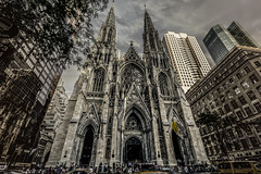 St. Patrick's Cathedral ( Esther ) Tags: street new york city travel light summer sky people urban sun ny color building church window colors skyline architecture clouds canon buildings photography amazing colorful cityscape angle image manhattan cab wide stpatrickscathedral hdr