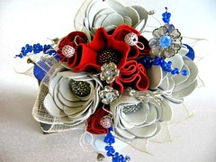 Red, White and Leather Bouquet6 (TussyMussyBouquets) Tags: vintage contemporary winterwhite cobalt weddingbouquet silverflowers broochbouquet leatherbouquet