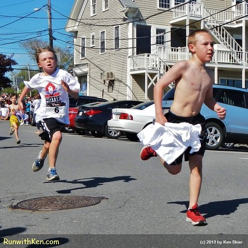 A DUEL at the finish line!  Runners at the Motif #1 5K in Rockport, MA.