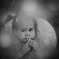 Is Ham is good! (Marquisde) Tags: bw food look canon square 50mm blackwhite toddler dof child bokeh f14 ham depthoffield eat squareformat 7d stare canonef50mmf14usm