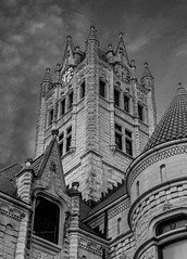 Let Down Your Hair (ksunderman) Tags: bw castle clock stone architecture sunrise 35mm canon dawn indiana clocktower courthouse greenfield townsquare 60d