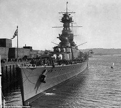 The British battle cruiser HMS Hood pictured docked at the Devonport Dockyard, Devon, in 1928, lost more than 1,400 men when it was attacked