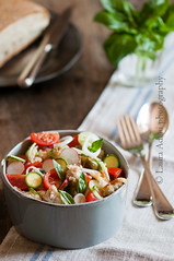 panzanella toscana (Laura Adani) Tags: summer stilllife food glass bread recipe healthy nobody towel bowl vegetable indoors ingredients vegetarian basil easy oliveoil radish cheap courgette caper springonion panzanella photofood coutlery