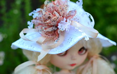 Feeling Coy (melimeli - photos) Tags: hat outfit lace top crochet skirt lolly ribbon blythe chic shabby melimelicreations