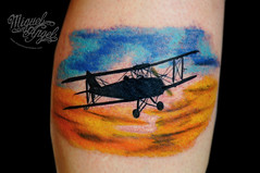 Biplane and sky tattoo (Miguel Angel tattoo) Tags: sky color colour detail london silhouette miguel tattoo illustration angel clouds plane design flying wings wheels wing silhouettes style tattoos angels colourful custom delicate biplane realism detailed maik twickenham tlc miguelangeltattoo tlctattoo
