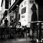 early morning in Marseille, southern France : sidewalk bar