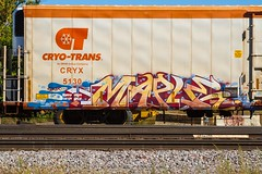 MAPLE (TheLost&Found) Tags: urban art fall car minnesota train bench photography graffiti maple paint king box painted exploring champs tracks minneapolis rail trains explore mpls boxcar graff cry burner mn freight inc rolling reefer tci freights soker mhw cryx benched 2013 5130 cryotrans coldcar cryx5130