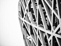 Bird's Nest (1yen) Tags: china travel bw travelling blackwhite asia stadium beijing nik   olympicpark birdsnest peking omd peoplesrepublicofchina 40150mm em5 zuiko40150mm   beijingnationalstadium olympicgreen  silverefexpro2 olympusomdem5