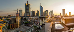 Frankfurt Skyline (cfaobam) Tags: blue sunset panorama orange yellow skyline architecture skyscraper canon germany deutschland europe european cityscape hessen frankfurt main central bank highrise deutschebank banks frankfurtammain commerzbank ecb deutsche hesse mainhattan ezb hugin europeancentralbank europischezentralbank zentralbank 24105mm europische canonef24105mm eos6d canoneos6d deutschherrnviertel