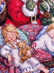 SWEET DREAMS STOCKING (Crafty Brid Me) Tags: santa christmas color cute art thread beautiful set french mexico design back pattern cross stitch loop sweet handmade decoration craft knot scissors needle dreams anchor stitches friendly kit package dmc