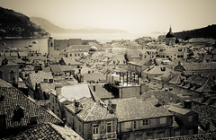 Old Town (GaryTumilty) Tags: city sea bw white black tower vintage buildings boats bay harbor rooftops harbour croatia spire walls oldtown dubrovnik adriatic