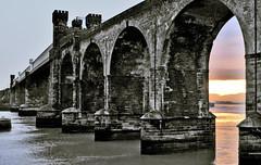 Brittania Bridge from the Dark Side (Jim the Joker) Tags: sunset railway viaduct runcorn rivermersey ethelfledabridge thebrittaniabridge