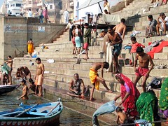 india (gerben more) Tags: shirtless people india men boat women laundry varanasi ritual ganges benares ghat