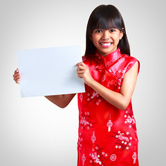 Little chinese girl (Patrick Foto ;)) Tags: china new red portrait people woman white girl beautiful beauty up smiling fashion festival female pose paper asian thailand happy person costume spring holding pretty hand message dress adult background empty traditional year banner chinese young culture happiness whiteboard advertisement celebration thai present presentation concept copyspace eastern something isolated advertise