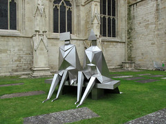 Sitting Couple on a Bench by Lynn Chadwick...view 2 (pefkosmad) Tags: uk summer england sculpture art public modern cathedral modernart exhibition gloucestershire gloucester gloucestercathedral lynnchadwick crucible2 crucibleexhibition sittingcoupleonabench