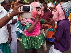 Carnival mood (Evgeni Zotov) Tags: street camera carnival pink people music india holiday festival feast fun town dance costume couple hand phone shot mask pair religion kerala parade photograph indie masquerade procession hindu indië hinduism indien inde munnar インド hindistan 印度 भारत índia הודו 인도 الهند индия