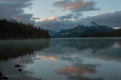 Maligne Lake (San Francisco Gal) Tags: cloud mist mountain lake snow reflection water jasper alberta maligne ruby10 ruby15 ruby20