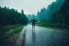 Summer days (Oleh Slobodeniuk) Tags: road wood travel man mountains tree nature smile rain pine beard landscape fun outdoors grain hipster young longboard carpathian longboarding vsco