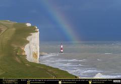 In Rainbows (andrewtijou) Tags: uk england lighthouse storm sussex rainbow europe waves unitedkingdom gale cliffs sevensisters beachyhead birlinggap crashingwaves roughseas andrewtijounikond7000