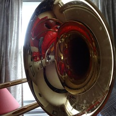 Sounding Brass (jarvemate) Tags: photo haiku trombone brass wah wh herios shouldhavecleanedthetrombone
