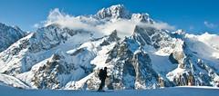 Wes with Monte Bianco (wesbl) Tags: travel italy ski france alps switzerland europe skiing geneva backcountry chamonix montblanc offpiste backcountryskiing chamonixmontblanc