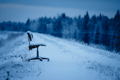 Waiting for the Meeting (trm42) Tags: morning winter lake snow rural forest suomi finland office chair dof covered lapua seinjoki pohjanmaa hirvijrvi
