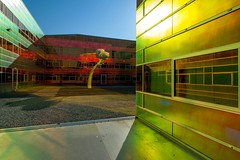 _DSC2255 (durr-architect) Tags: light sun colour reflection netherlands glass architecture modern facade offices almere dfense berkel unstudio