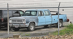 '70s Dodge Crew Cab (Eyellgeteven) Tags: old blue classic truck vintage fence rust rusty pickup pickuptruck dent rusted barbedwire oxidation 70s vehicle dodge chrysler mopar 1970s dents jalopy beatup junker beater madeinusa americanmade 2wd dented oxidized longbed worktruck 4door farmtruck crewcab 34ton oddpanel eyellgeteven