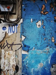 Not (Feldore) Tags: street blue urban abstract wall thailand flyer pieces bangkok letters olympus torn colourful mchugh fragments em1 1240mm feldore