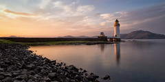 Rubha nan Gall (cylynex) Tags: sunset sky lighthouse clouds reflections landscape island scotland cloudy isleofmull mull tobermory hebrides rockbeach waterreflections rubhanangall