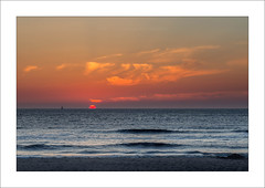 Fade Out I (Frank Hoogeboom) Tags: sunset red orange seascape holland color art netherlands island photography wadden waddeneiland zonsondergang sand waves outdoor fine nederland zee unesco texel zand golven waddenisland