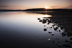 Millshield Sunset (ca2cal) Tags: county sunset england sky cloud sun reflection water silhouette rock rural skyscape landscape countryside still long exposure durham dusk derwent tripod reservoir northumberland website waterscape countydurham derwentreservoir 10stop project366 millsheild