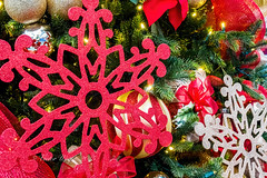 Assorted Christmas ornaments (Victor Wong (sfe-co2)) Tags: snowflake christmas xmas red white holiday macro tree art closeup ball festive star design december pattern graphic symbol decorative seasonal decoration icon celebration ornament sphere elements bow round icicle hanging ribbon merry shape decor bauble icecrystal